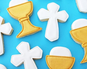 Small Gold First Communion Chalice and Cross Sugar Cookies -- First Communion Sugar Cookies