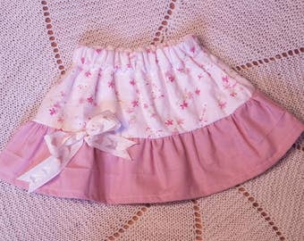 Soft Pink Floral Baby Ruffle Skirt