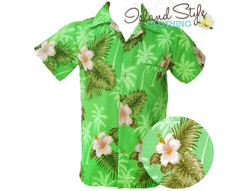 Hawaiian Shirt Green Hibiscus Tropical Party Shirt