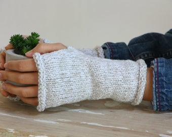 mittens, knitted mittens, fingerless mittens, white and light gray gloves, knitted gloves, handmade mittens