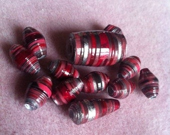 Valentines Paper Bead set ! Hand Rolled and Glazed !