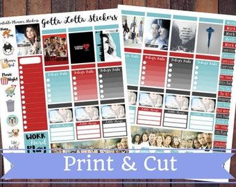50% Off SALE \ Grey's Anatomy \ Instant Download Printable Vertical Planner Kit \ Planner Stickers \ Scrapbook \ Journal Clip Art
