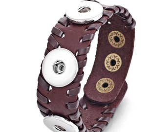 Brown Leather, Leather Stitched, 3 Button Snap On Noosa Charm Bracelet w/ Beads and Stones, fits Snaps 18mm 20mm