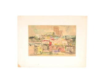 Gianni Cilfone Mid-Century Abstracted Watercolor Painting Galena IL Streetscene