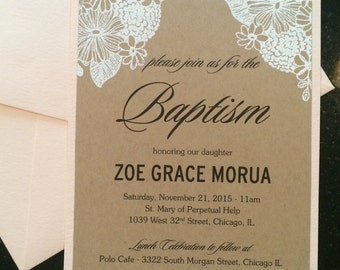 Embossed Christening/Baptism Invite