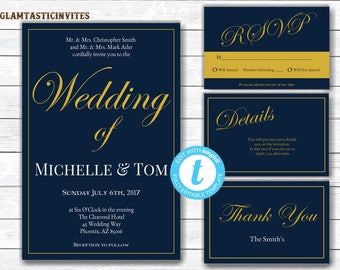 wedding invitation navy blue wedding invitation gold wedding invitation instant download wedding - Navy Blue Wedding Invitations