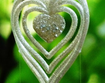 Just Becaue I Love You-Intricate Silver 3D Heart & Spoon Fish Wind Chime-Anniversary Present for your Sweetheart-Special Someone Gift Ideas