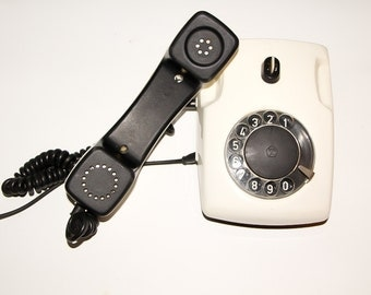 Rotary telephone white phone dial rotary phone old fashion telephone for decor classic phone home telephone vintage telephone  shabby  decor