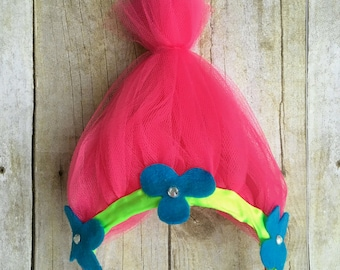 Trolls headband, poppy troll headband, troll birthday headband, poppy headband, poppy troll headband, princess poppy troll headband