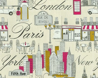 P Kaufmann Cityscape Fiesta New York Paris Cream Black Gold Hot Pink Upholstery Fabric  by the yard