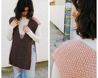Pink and Brown Handmade Crotched Sleeveless Poncho