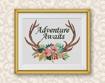 BOGO FREE! Floral Antlers Cross Stitch Pattern, Adventure Awaits xStitch, Wild Deer Animal Flowers Modern, PDF Instant Download #046-1-21