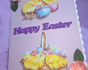 Easter card with 3d chicks and eggs finished with pink blossom,cute little Easter card suitable for everyone.