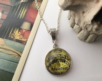 Beyond the veil - Ouija Board glass pendant, necklace. Gothic Supernatural