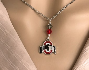 Ohio State Buckeyes Necklace. Ohio State Logo Necklace. Clay Buckeye Bead. Red and Gray Swarovski Crystals. Chain Included.