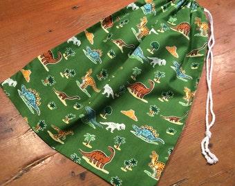 Dinosaur Animal Green, Library Bag, Large 35 x 45cm Drawstring, Quality Hand Made