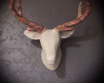 handmade deer head wall mount white lace with pink floral antlers