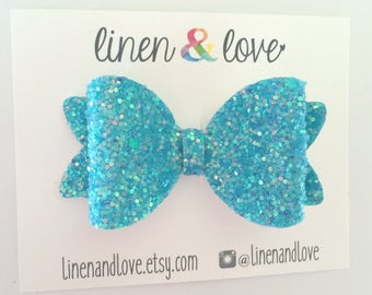 Glitter Hair Bow - Ocean Blue