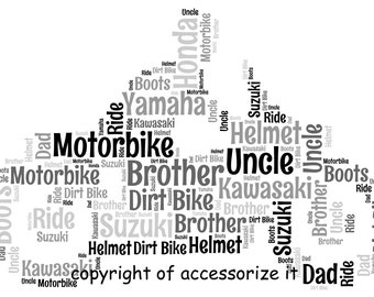 A4 Size Personalised Motorbike / Motorcycle Word Art Print - Gift Idea *Digital File Also Available*