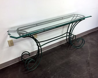 Green Metal & Beveled Glass Console Table / Sofa Table