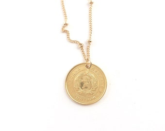 """Bulgaria Gold Dipped Coin Pendant Necklace    LOVEMYROOTS    16""""  24"""" 30"""" gold filled chains"""