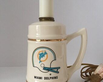 Vintage Miami Dolphins Lamp--Miami Dolphins Collectible--Dolphins' Memorabilia--Miami Dolphins Mug Lamp--Old Dolphins Logo--NFL Collectible