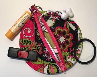 Pink Paisley Earbud Pouch with Green Lining