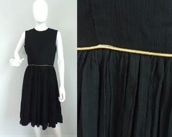 1960s Black Gold Trim Dress, 60s Sleeveless Dress, Fit & Flare Dress, Little Black Dress, Vintage Party Evening Dress, Midcentury Size Small