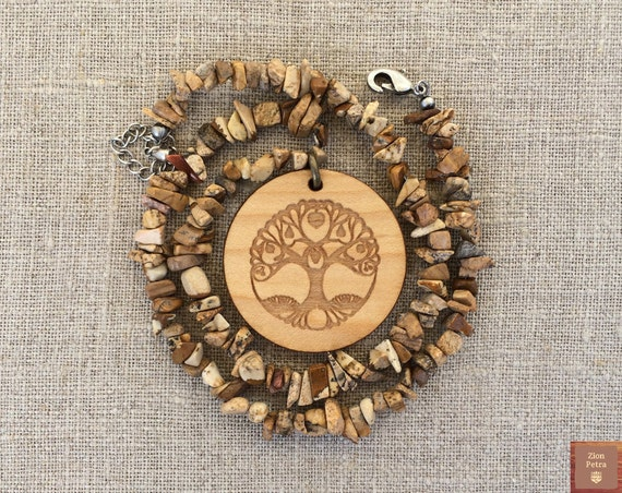 Ancient Tree of Life Carved Pendant—Recycled Maple Wood & Picture Jasper Gemstone