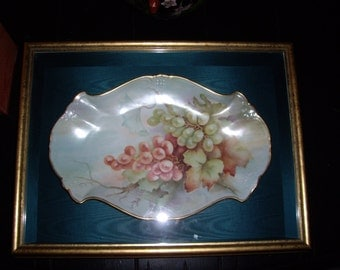 Framed in Shadowbox Vintage Handpainted Platter