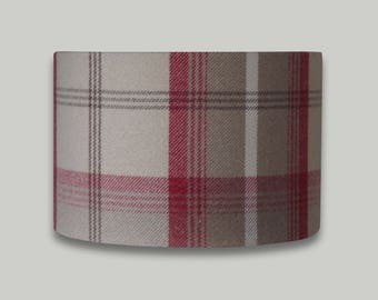 Balmoral Cranberry Red Beige Tartan Tweed Check Drum Lampshade Lightshade Country Lamp Shade 20cm 25cm 30cm 35cm 40cm 50cm 60cm 70cm