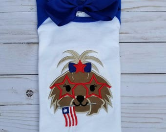 Patriotic Puppy - Dog Embroidery - Red White Blue - 4th of July