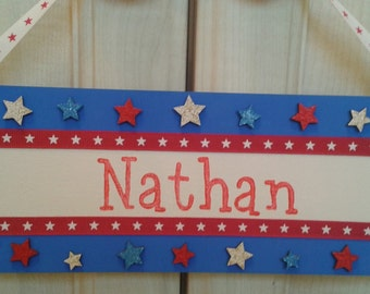 Personalised door plaque handpainted wooden hangers boys bedroom red white blue stars union jack style design any name customise to suit