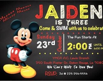 Mickey Mouse Themed Birthday Party Invitation