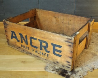 ANCHOR beer in Alsace vintage wooden crate / old Collection advertising fund