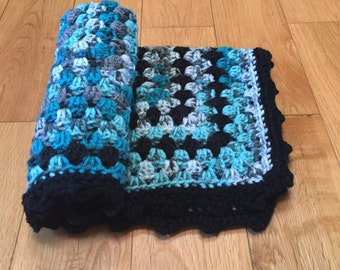 Crocheted Baby Blanket, Blue Baby Blanket, Baby Blanket, Boy Baby Blanket, Baby Shower Gift, Security Blanket, Lovey, Photo Prop