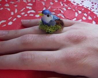 Bird Statement Ring Blue or Green Birds Nest Ring  Bird Jewelry Fairy Jewelry Bird Statement Ring Blue or Green Birds Nest Ring