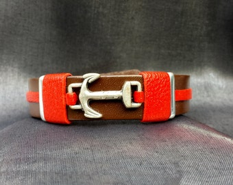 Anchor Leather Bracelet accented with Red Leather