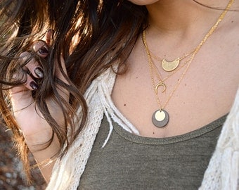 Necklace Moon 3 in 1 leather and gilded gold brass end