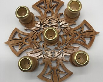 Leaf Cross Advent Wreath - Curly Soft Maple