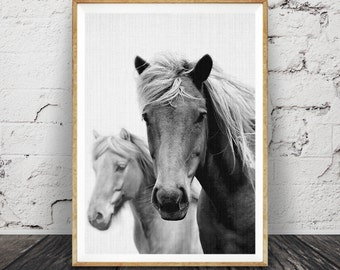 Horse Photography, Black and White Photo, Wall Art Print, Printable Large Poster Digital ...