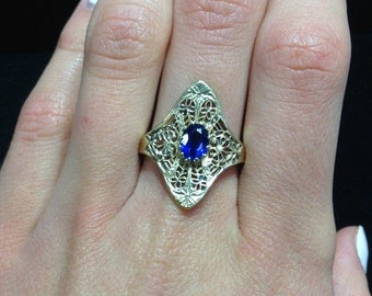Sterling Silver Gold Finish Filigree and Dark Blue Stone Ring