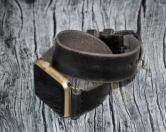 Black Double wrap genuine leather apple watch band 42mm / 38mm // apple watch strap - iwatch band leather accessories - iwatch strap adapter