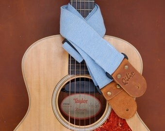 Light Blue Denim Guitar Strap