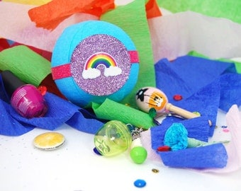 Rainbow Surprise Ball, blue, gift filled treasure ball, rainbow party favor, rainbow gifts, gifts under 20, birthday party favors, colorful