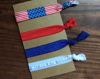 Patriotic Hair Ties/Frilly Hair Elastics/Glitter Hair Elastics/Flag Hair Elastics/American Hair Elastics/Gifts for Her/Athletic Girl Gifts