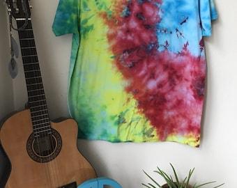 Tie Dye T-shirt - Hippie - Festival- Adult XL - Rainbow Abstract