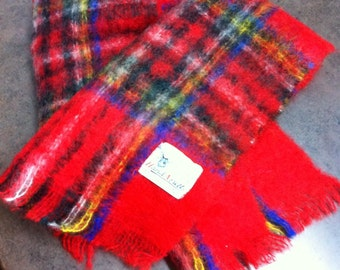 Vintage Mohair Scarf - Tartan Plaid - Made in Scotland - All Mohair Pile - Stylish and Warm