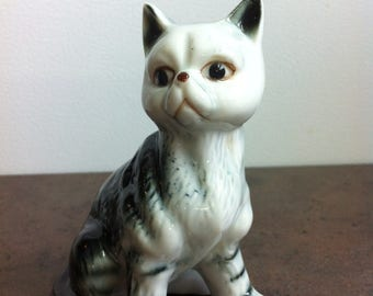 Vintage Cat Figurine - Black and White Cat Ornament - Ceramic Kitty Cat - Gift for the Collector