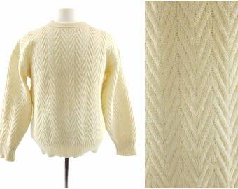 80s Italian Wool/Alpaca Cream Crewneck Pullover Sweater, Off-White Fisherman Sweater, Vintage Mens Small (Medium)